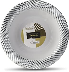 [40 Count - 5 Oz Bowls] Laura Stein Designer Tableware Premium Heavyweight Plastic White Dessert Bowl With Silver Designed Border, Party & Wedding Plate Curve Series Disposable Dishes