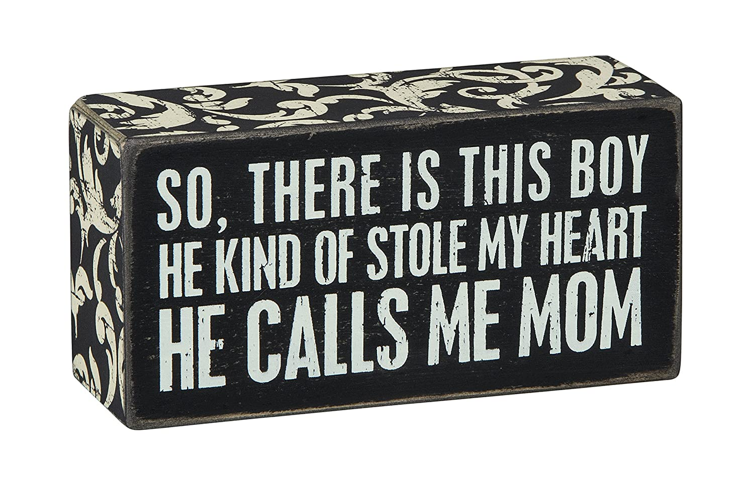 Primitives by Kathy Floral Trimmed Box Sign, 5 x 2.5-Inches, Calls Me Mom