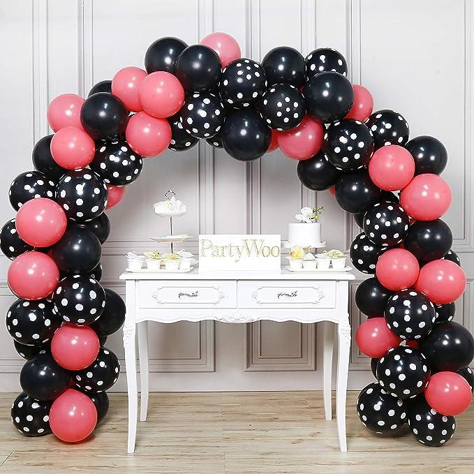 PartyWoo Globos de Fiesta 90 Piezas Globos de Látex Fucsia y Negros & Globos de Lunares Negros para la Fiesta de Minnie Mouse Fiesta de Cumpleaños de ...