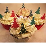 Christmas Cake Decorations - Edible Wafer Cupcake Christmas Trees -Green and Red Trees x 36