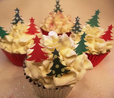 christmas cake decorations edible wafer cupcake christmas trees green and red trees x 36
