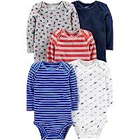 Simple Joys by Carter's Unisex bebé trajecito de manga larga de algodón, Pack de 5