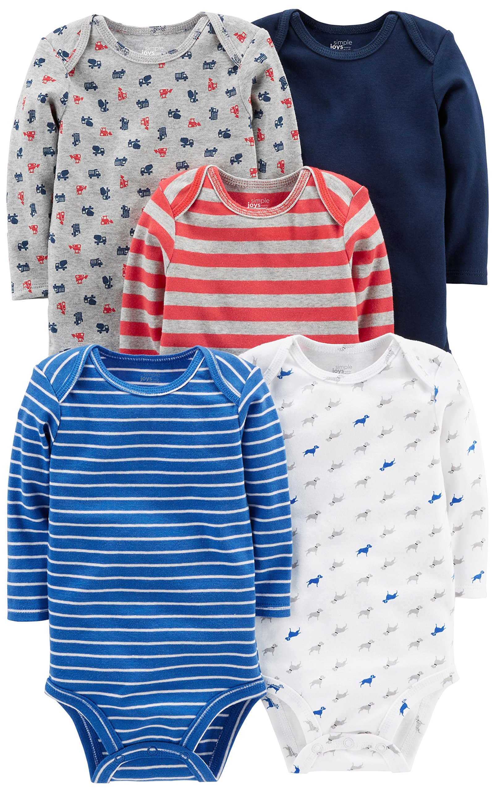 Simple Joys by Carter's Baby Boys' 5-Pack Long-Sleeve Bodysuit, Blue/Red/Grey, 3-6 Months by Simple Joys by Carter's