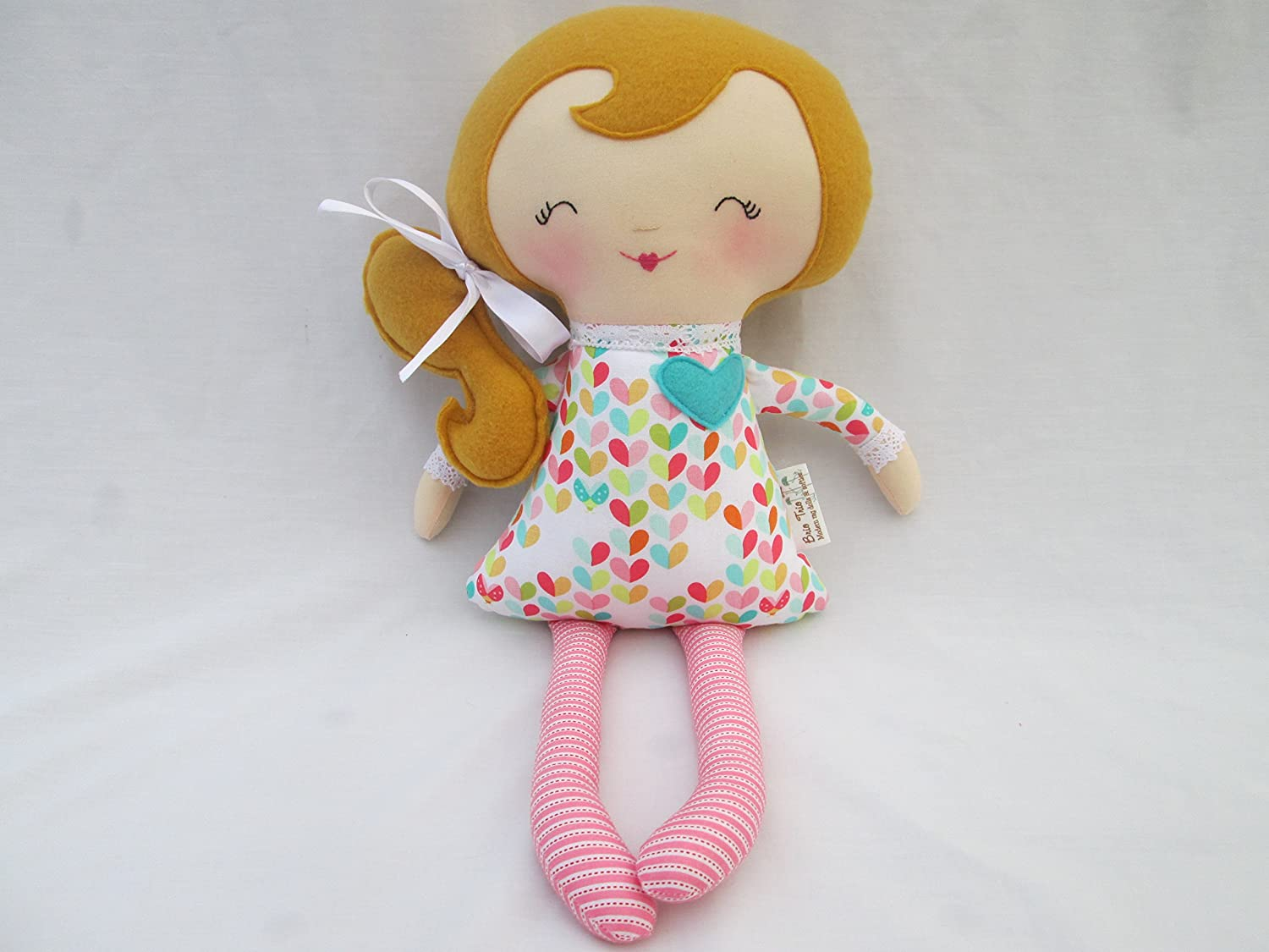 Blonde Soft Doll with Colorful Hearts outfit and pink striped tights