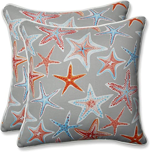 Pillow Perfect Outdoor Indoor Stars Collide Pewter 18.5-inch Throw Pillow Set o, 2 Piece