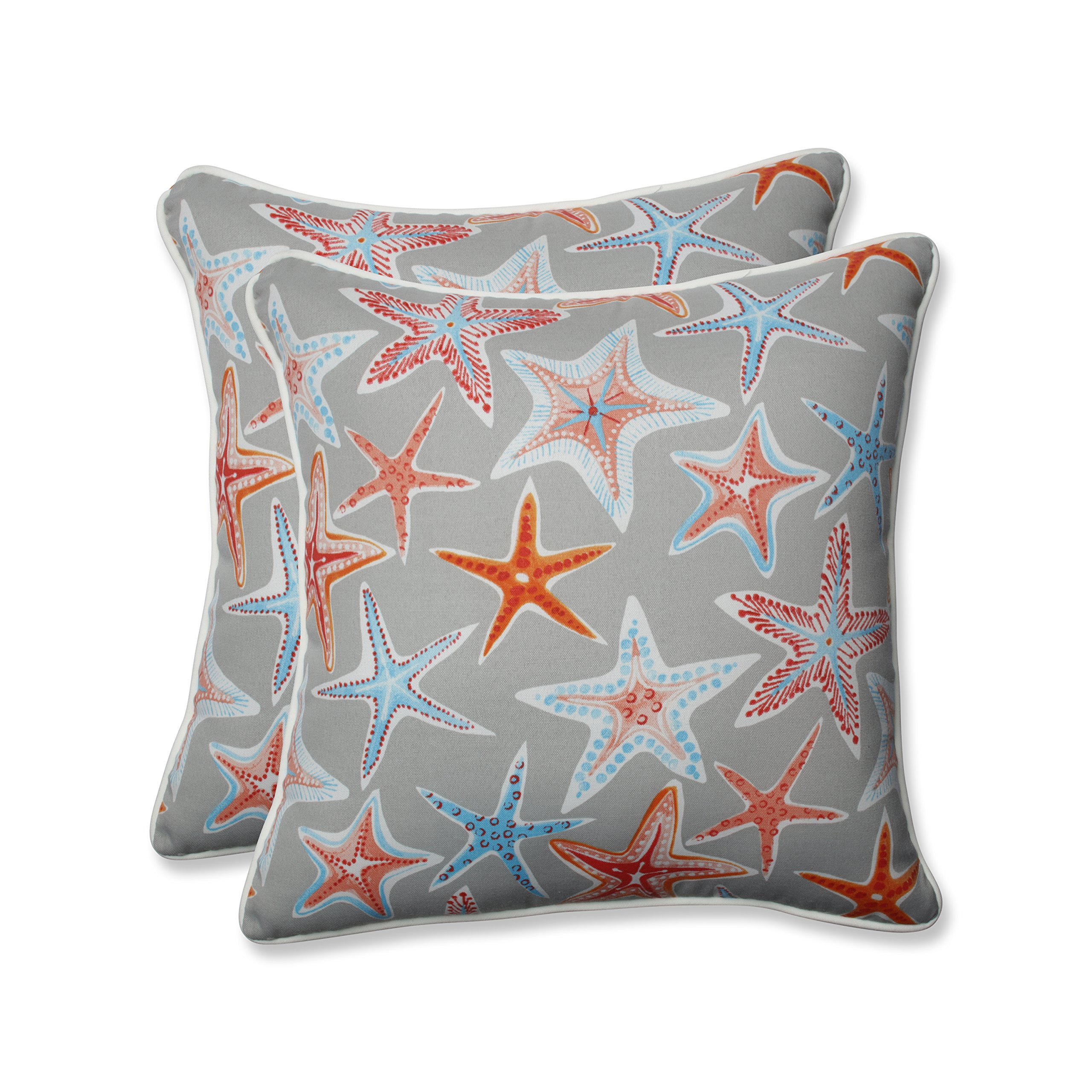 Pillow Perfect Outdoor | Indoor Stars Collide Pewter 18.5-inch Throw Pillow (Set o, 2 Piece