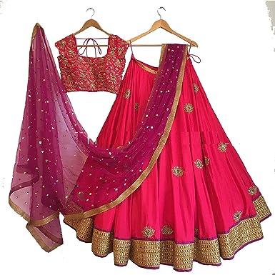 ClassyFashion womens Silk Pink Lehenga_Free Size_PinkLehClassy01 Lehenga Cholis at amazon