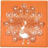 "Vardhman Rangoli Stencil Peacock Design, Big Size 12"" X 12"" , Used With Marble & Burada Rangoli Colors"