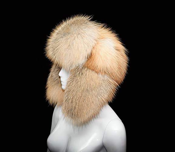 Amazon.com  Saga Furs Golden Island Fox Fur Handmade Luxury Bomber Trapper  Ushanka Hat Cap  Handmade 79482ad4ca9