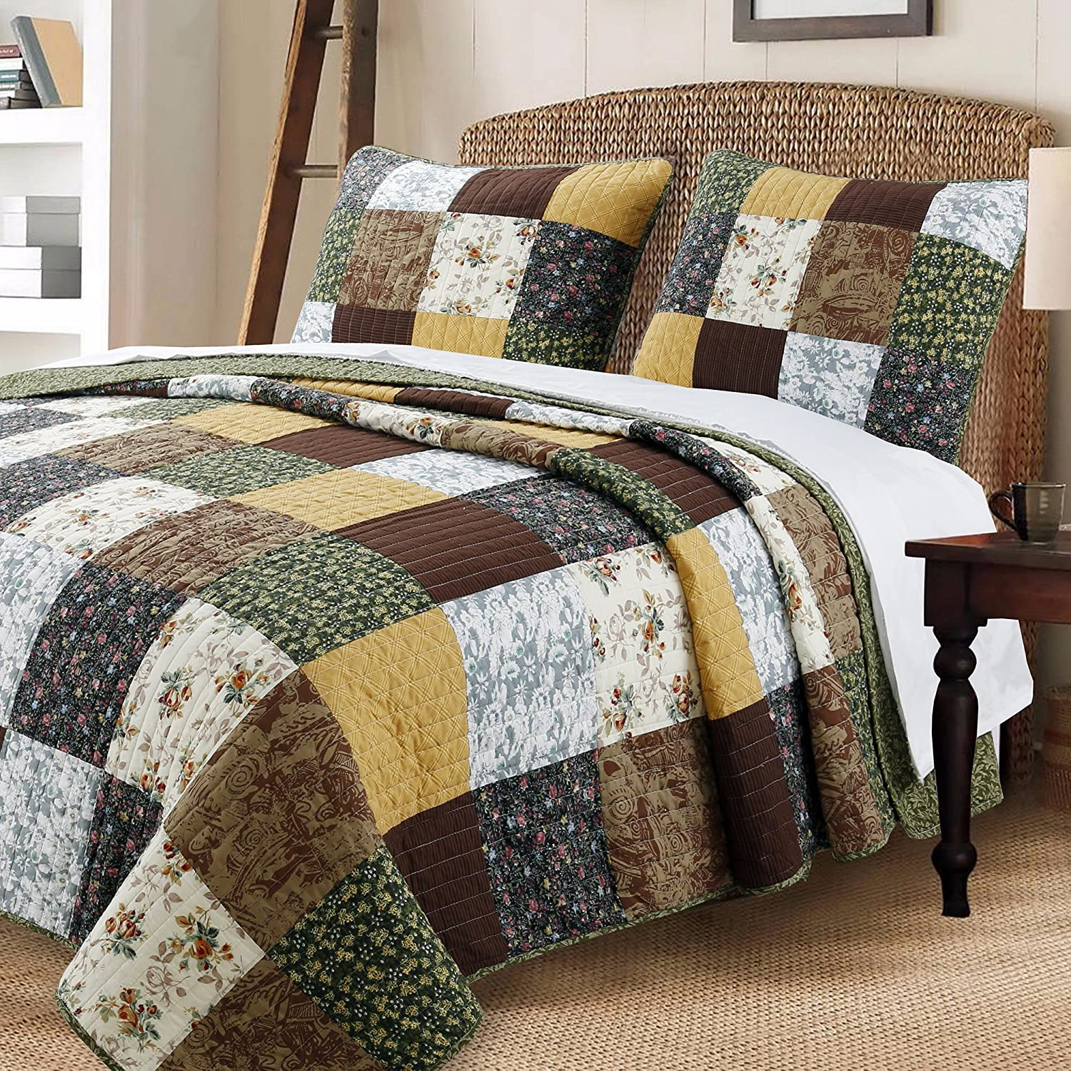 Cozy Line Home Fashions Andy Brown Olive Mustard Yellow Black Real Patchwork Quilt Bedding Set, 100% Cotton Reversible Coverlet, Bedspread Set for Men Women (Brown/Olive, Queen - 3 Piece)