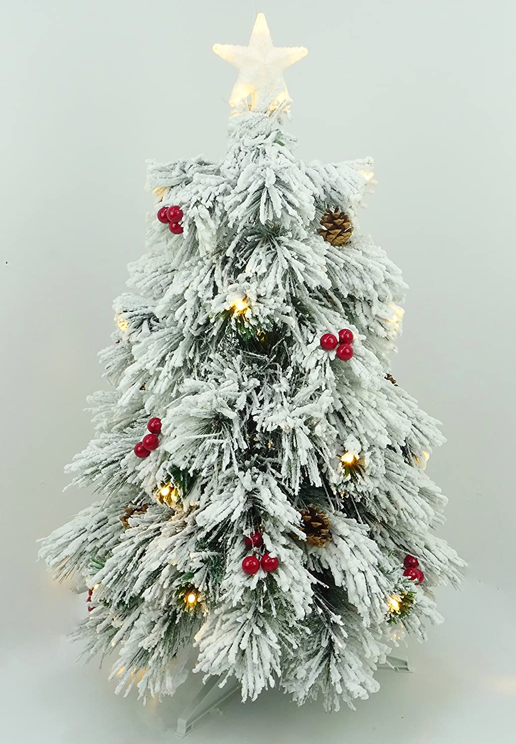 Christmas Concepts® 3ft (90cm) Pre Lit Snow Frosted Fibre Optic Pine Christmas Tree With Cones, Red Berries And LED Lights