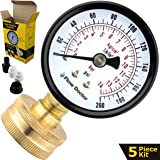 """Flow Doctor Water Pressure Gauge Kit, All Purpose, 5 Parts Kit, 0 To 200 Psi, 0 To 14 Bars, Standard 3/4"""" Female Garden Hose Thread Plus 4 Adapters To Test in Multiple Locations Indoors And Outdoors"""