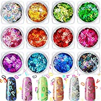 12 Boxes Letter Nail Sequins 3D Holographic Nail Glitter English Letters Sequins Glitter Decals Mixed Holographic Nails…