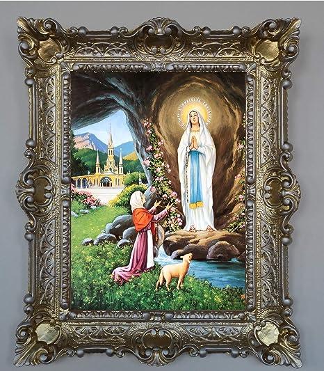Gemälde Jesus Maria Ikonen Repro Heiligenbild mit Rahmen 56x46 cm Religiöse 12