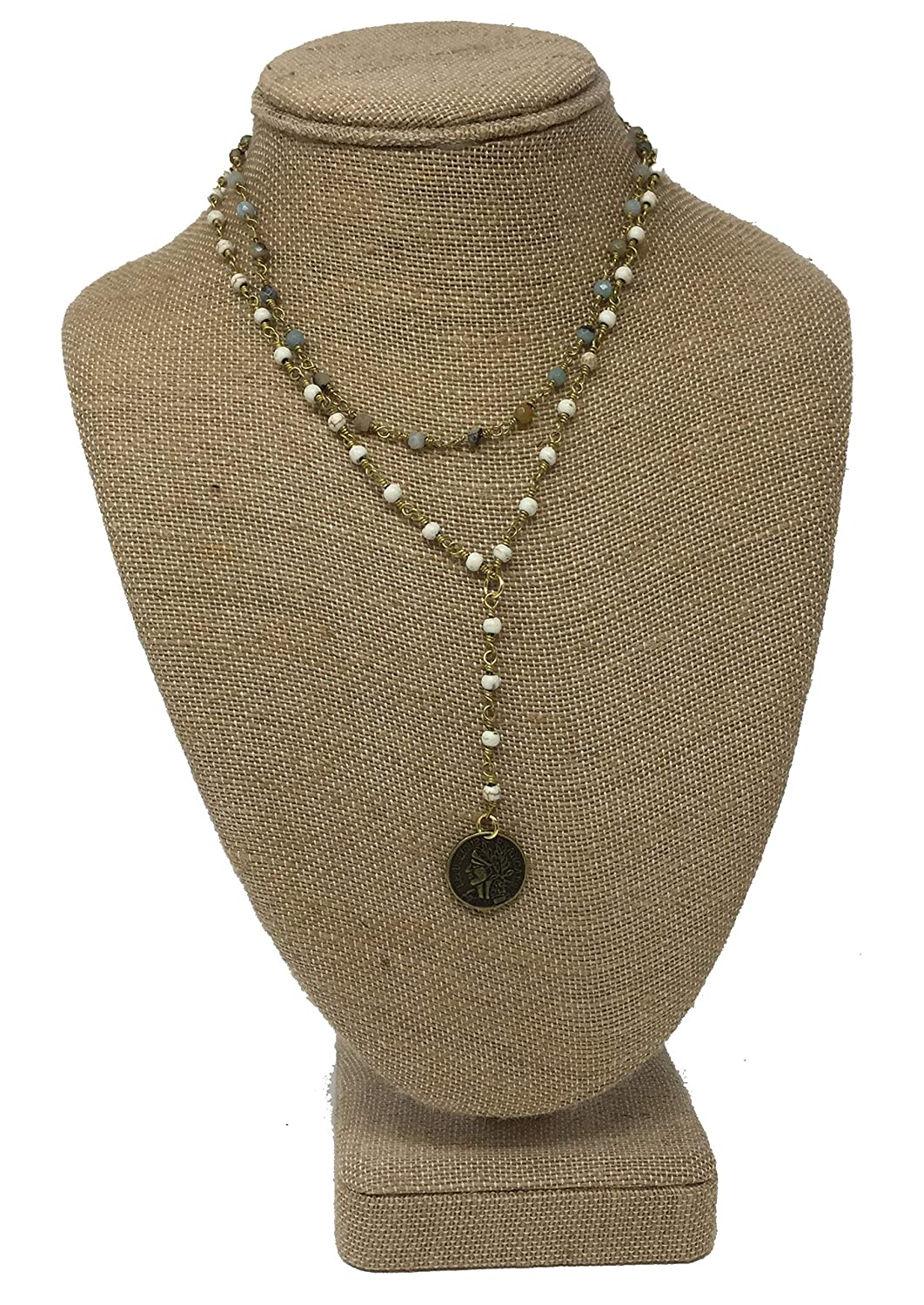 Raw /& Rebellious Tender Happiness Double Layer Lariat Necklace