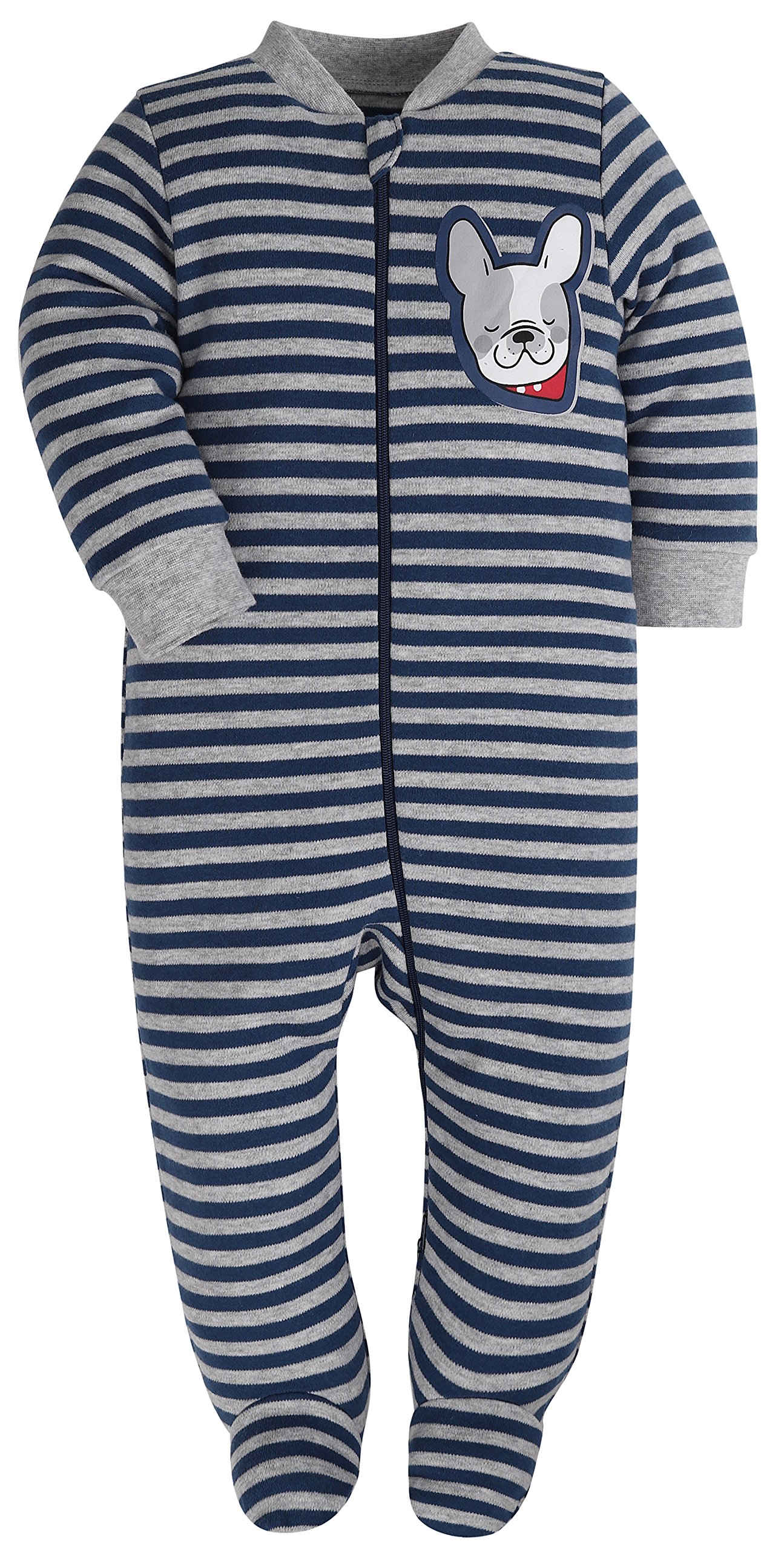 Baby Boys'2 Pack Footed Sleeper Yarn-Dyed Striped Baby Pajamas Set (Blue Dog/Grey Car, 18-24 Months) by SHENGWEN (Image #6)