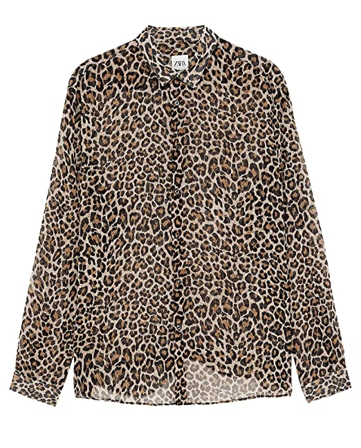 8da5d0c934fa Zara Men Leopard Print Shirt 0070/250 Beige at Amazon Men's Clothing ...