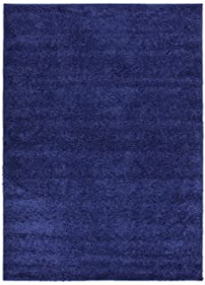 RugStylesOnline Solid Color New Shag Area Rug, Rugs Shaggy Collection, Navy  Blue