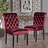 Dinlert Tufted Garnet Velvet Dining Chair with Roll Top (Set of 2)