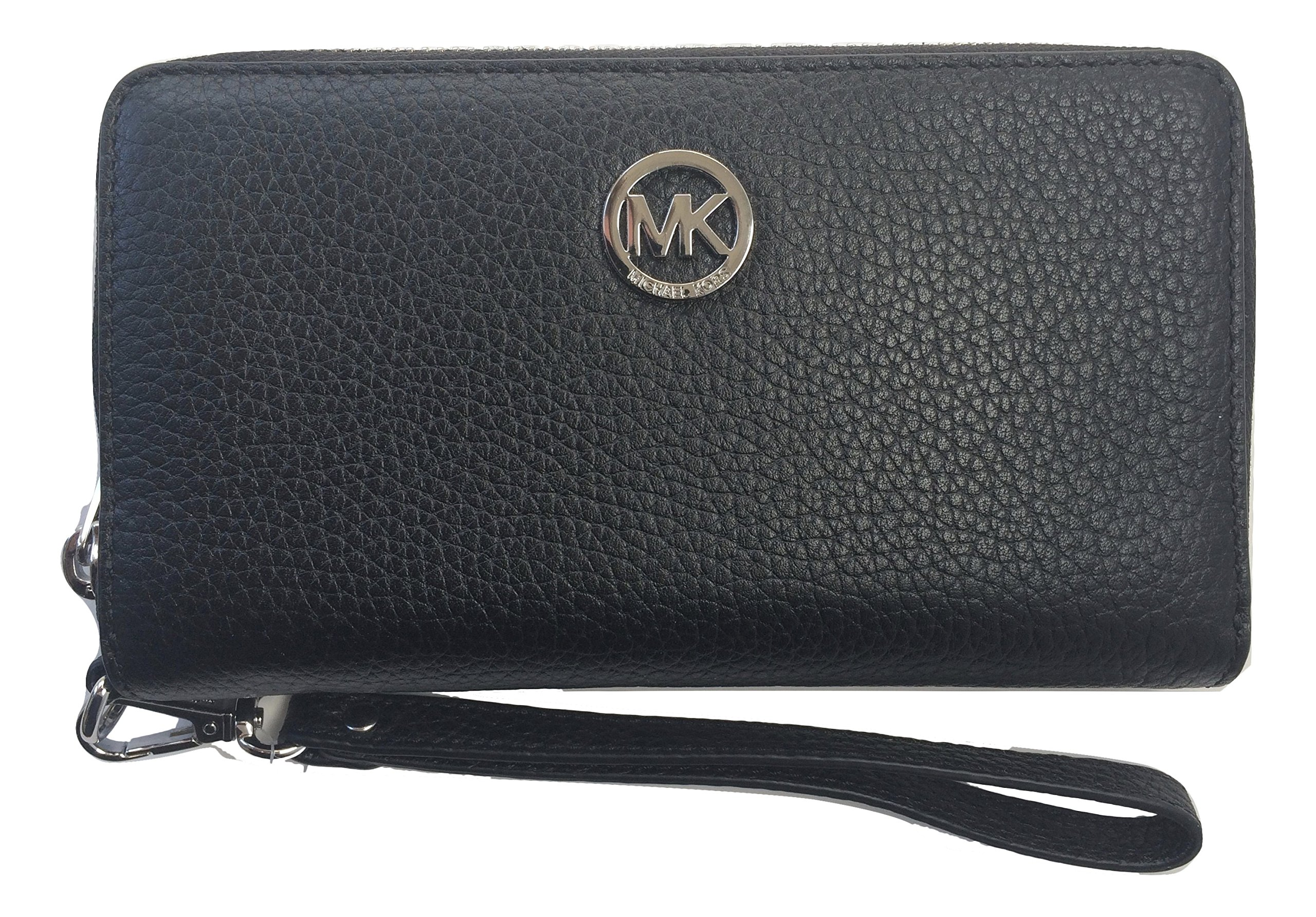 Michael Kors Fulton Large Flat Multifunction Leather Phone Case (Black with Silver Hardware)