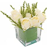 MyGift Artificial Ivory Roses in Square Glass Vase, Faux Flower Arrangements