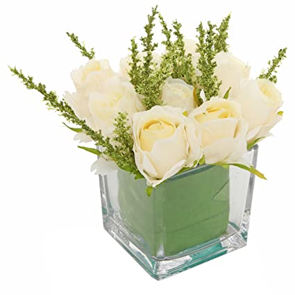 Amazoncom Mygift Artificial Ivory Roses In Square Glass Vase Faux
