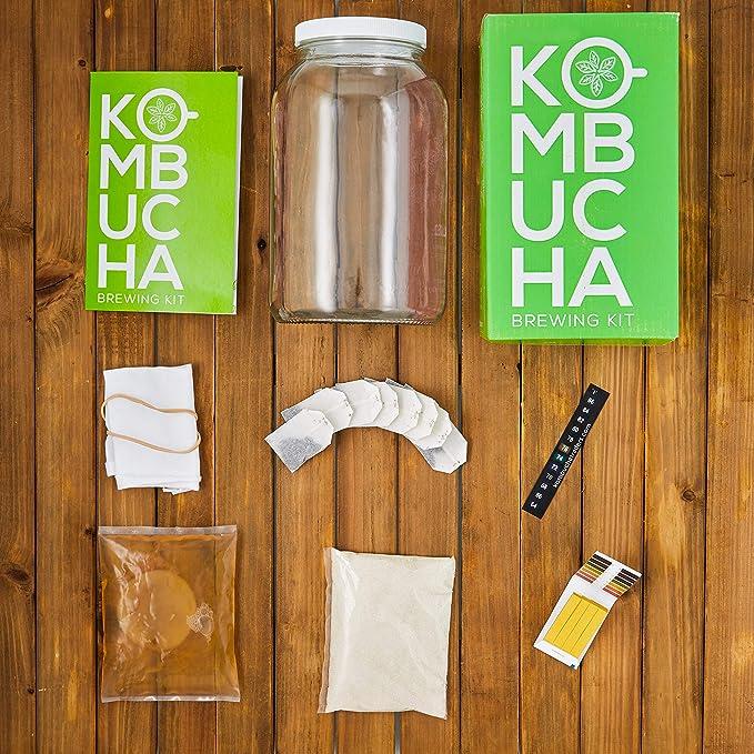 Paquete de 2 Kit Basico para Hacer Kombucha Org/ánico Scoby no incluido Tapa de Kombucha de Masontops Suministros para la Fermentaci/ón Casera en Frascos