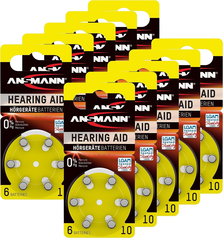 Ansmann Hörgerätebatterien 10 Gelb 60 Stück Zink Luft Elektronik