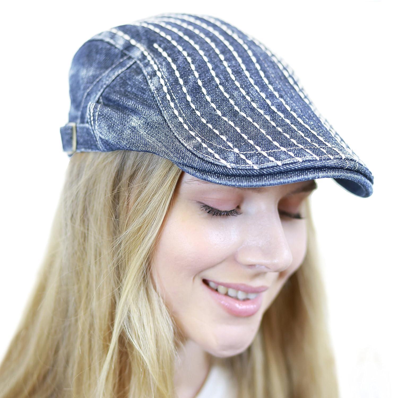 THE HAT DEPOT 200h4130 Thick Stitched Denim Newsboy Ivy Hat
