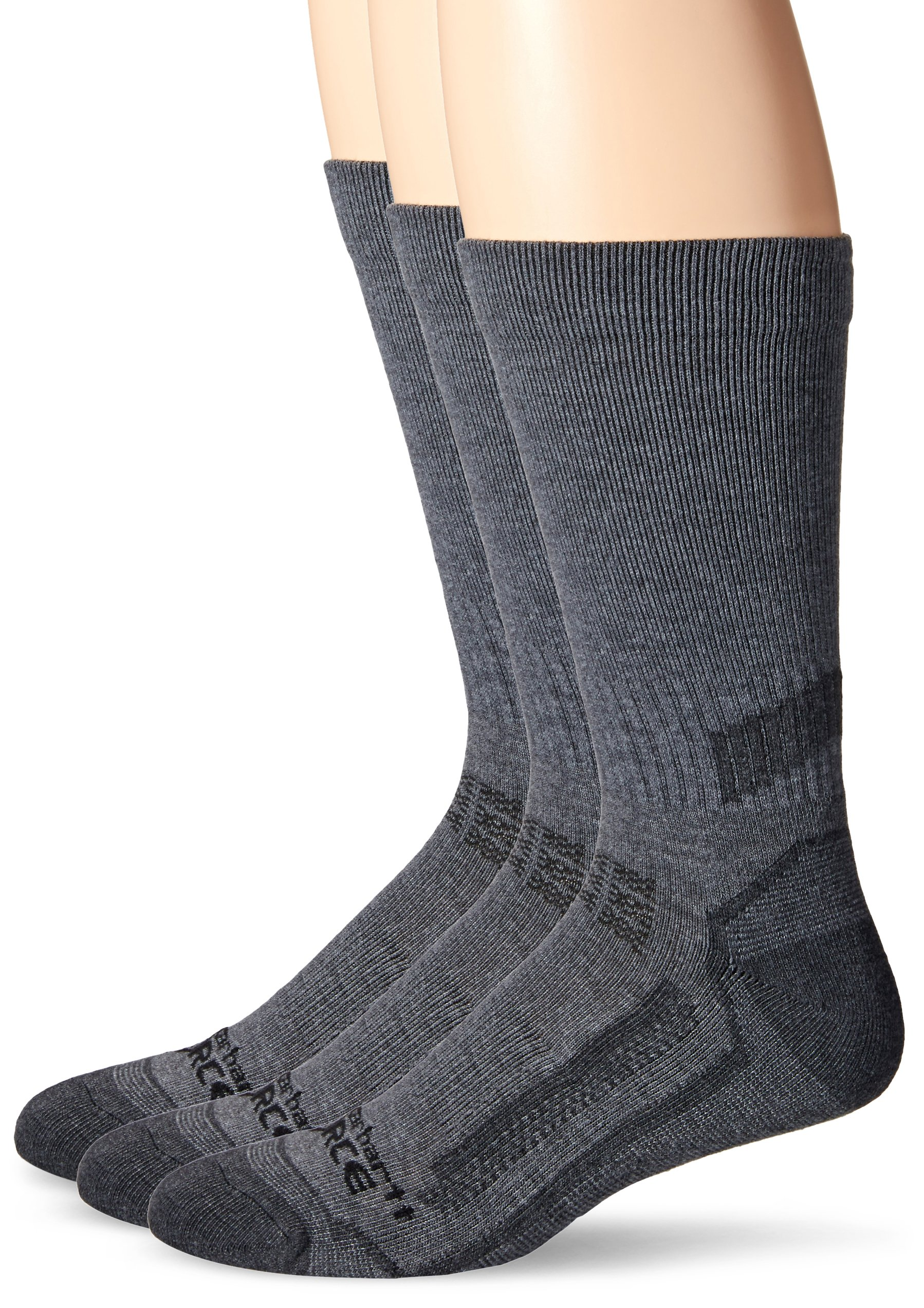 Carhartt Men's 3 Pack Force Performance Work Crew, Charcoal Heather, Sock Size:10-13/Shoe Size: 6-12
