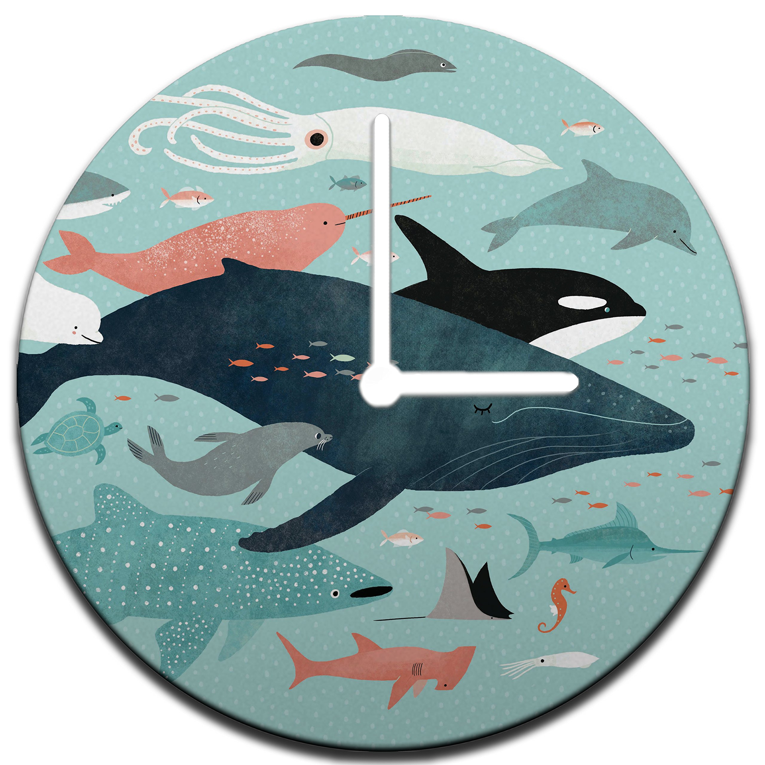 Mouse + Magpie Magical Under the Sea Menagerie Wall Clock Decorative 12'', Quiet, Non-Ticking, Perfect for Kids or Toddler Room, Nursery, Playroom or Office, Great Gift (white)