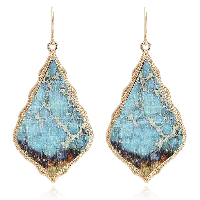 Bohemian Gem Pattern Printed on Recycled Wood Rhombus Baroque Drop Statement Earrings