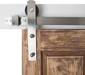 Barn Door Hardware 6.6ft Sliding Kit - Stainless Steel, Straight Strap - Blacksmith Hardware BD1010 - Premium Quality