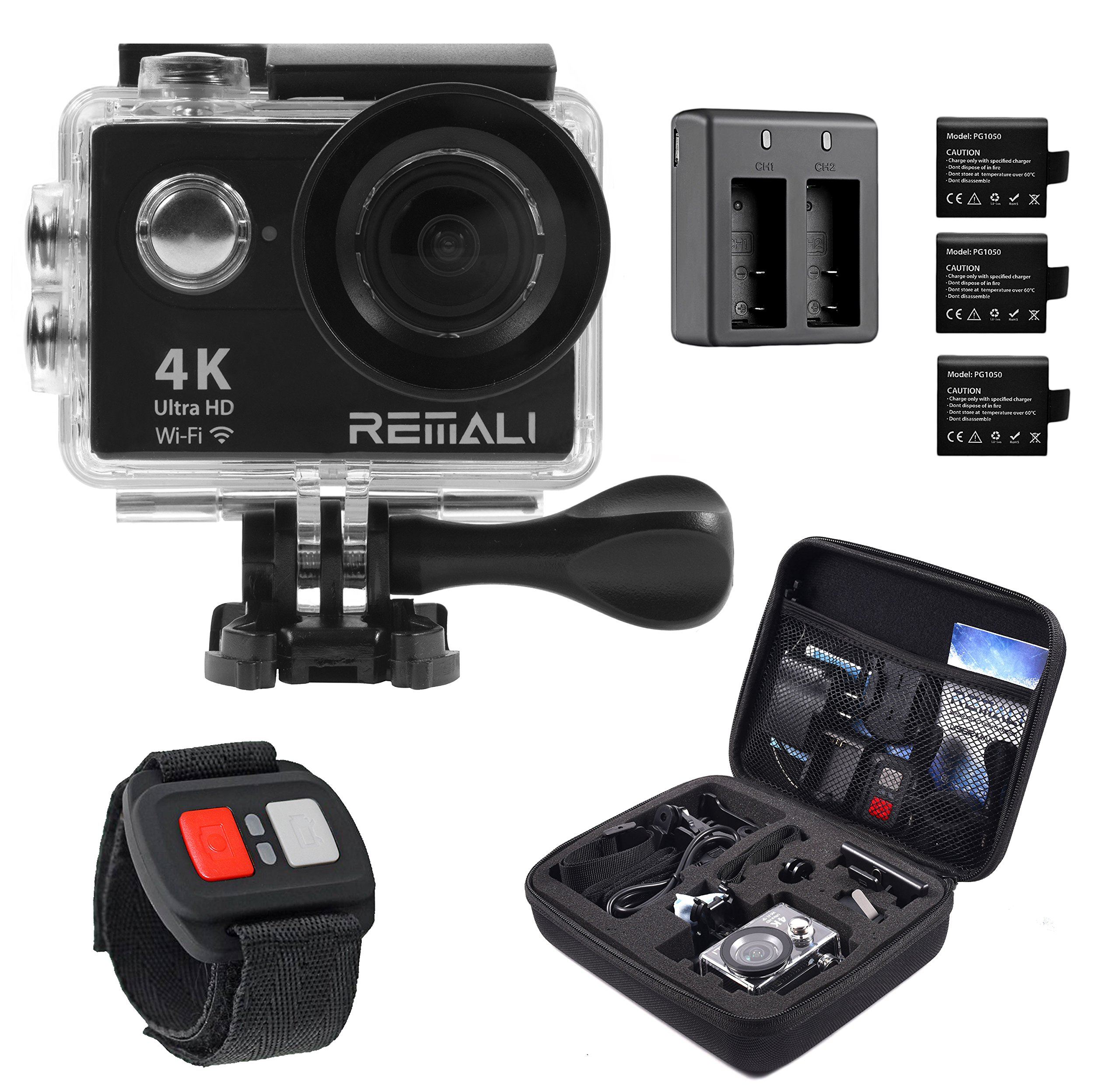 4K Sports Action Camera by REMALI, The Best Action Camera Package Available ON Amazon - Carrying Case, 2 Extra Batteries, Dual Battery Charger, Remote Control, 19 Mounts and Accessories!! Buy Now! by REMALI