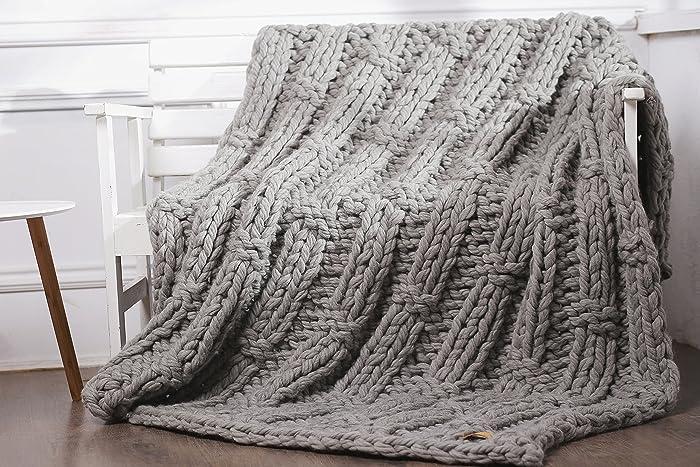 Amazon Chunky Knit Blanket Wool Knit Blanket Chunky Wool