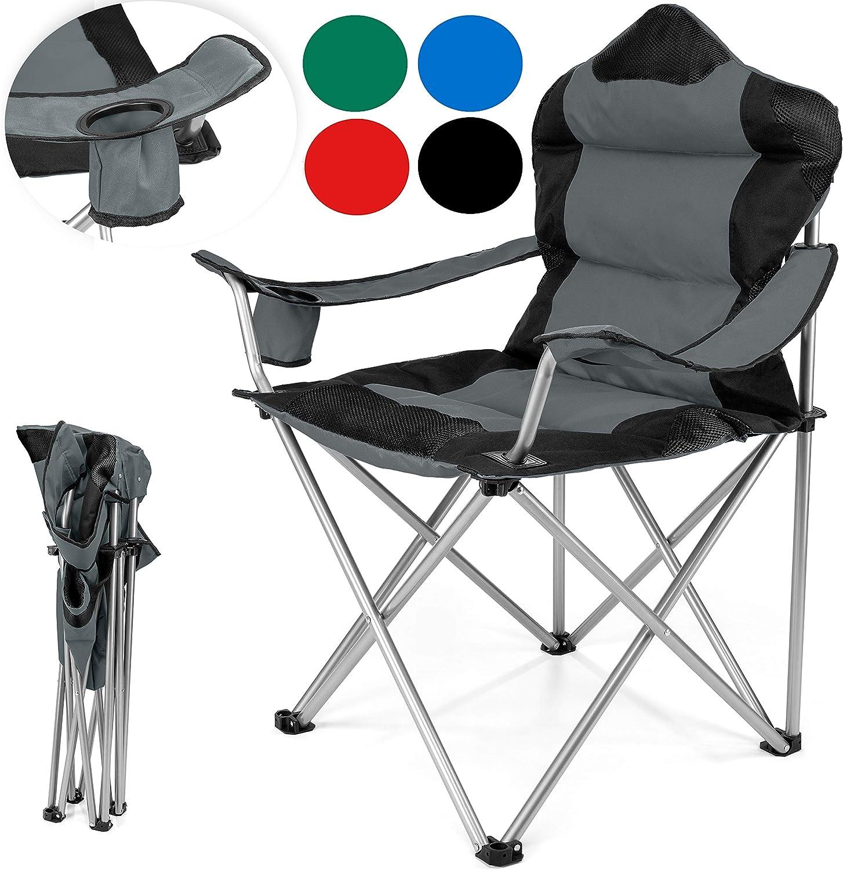 TRESKO® Chaise de Camping Pliante et transportable | jusqu'à 150 kg | Chaise de pêche Portable avec accoudoirs et Porte gobelets