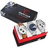 Youth Club Casual Combo Analogue Blue Silver Dial Watch For Men With Day & Date Combo-27Scdd