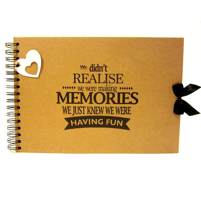 A5 A4 Making Memories Having Fun Scrapbook, Landscape, Card Pages, Photo Album, Keepsake (A4 (Black Pages)) Scrapbook Wonderland