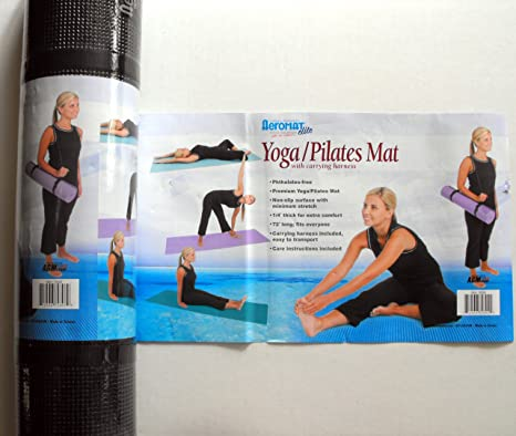 AGM Group Aeromat Elite Yoga/ Pilates 1/4-inch Thick Mat with Carrying Harness Black