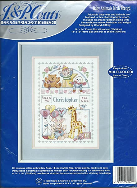 Baby Animals Birth Record Counted Cross Stitch Kit Amazon