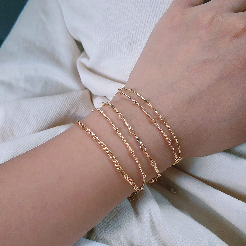 Fettero Satellite Chain Bracelet,14K Gold Plated Gold Figaro Chain Bracelet,Layering Bracelet for Women Dainty Chain//Charm Bracelet Simple Jewelry Gift for Her