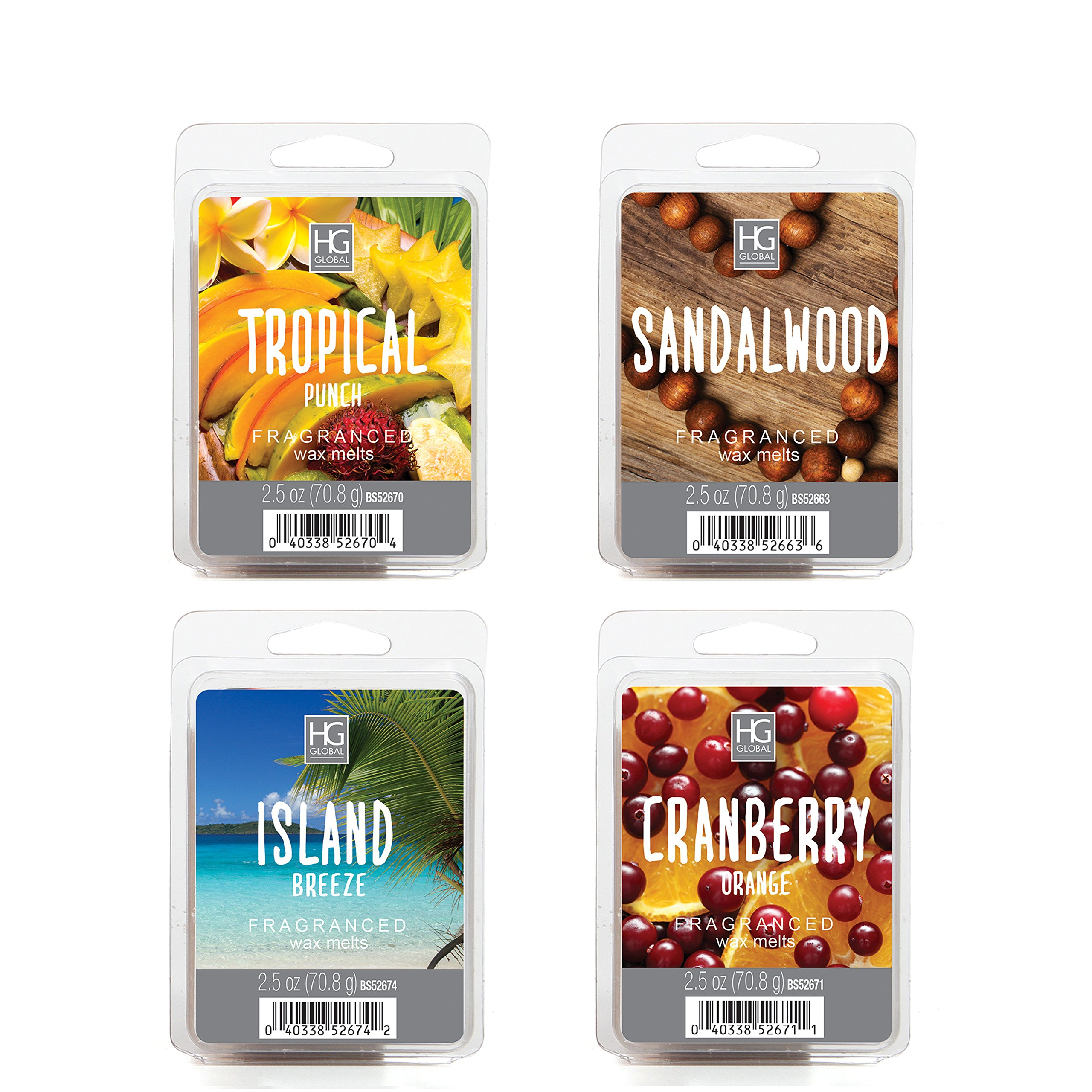 Hosley 10 oz Assorted Scent Wax Cubes/Melts. Sandalwood, Island Breeze, Tropical Punch & Cranberry Orange. Infused with Essential Oils. Ideal GIFT Wedding Spa, Reiki, Meditation O3