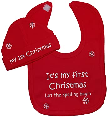 eebb477ac06 It s My First Christmas Let The Spoiling Begin Baby Feeding Bib   Beanie Hat  Cap Set 0 to 12 Months  Amazon.co.uk  Clothing