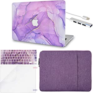 "LuvCase 5in1 Laptop Case for MacBook Old MacBook Pro 13"" Retina Display (2012-1015 Release) A1502/A1425 Hard Shell Cover, Sleeve, USB Hub 3.0, Keyboard Cover&Screen Protector (Lavender Marble)"