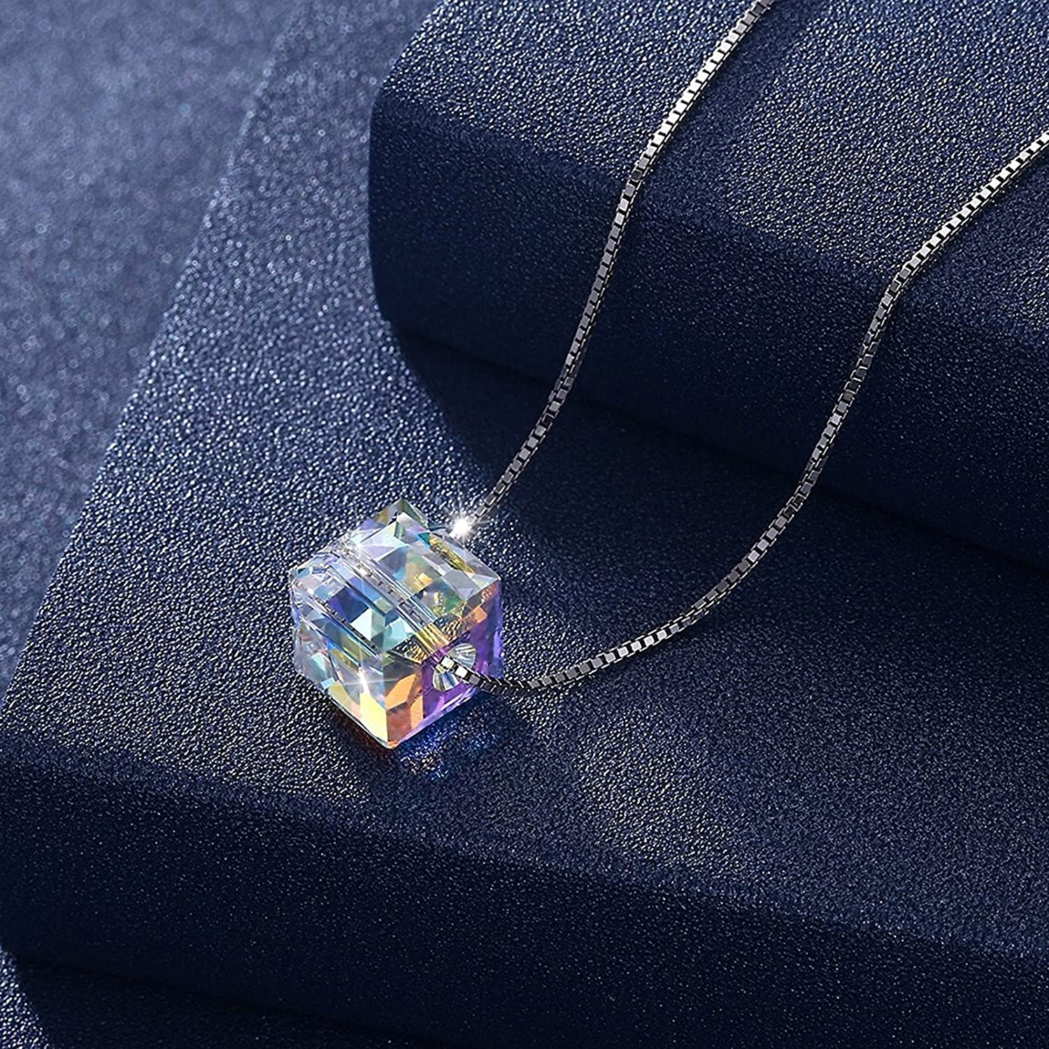 KnSam Pendant Necklace Chain Necklace 925 Sterling Silver with 0.8x0.8CM SWA Crystal
