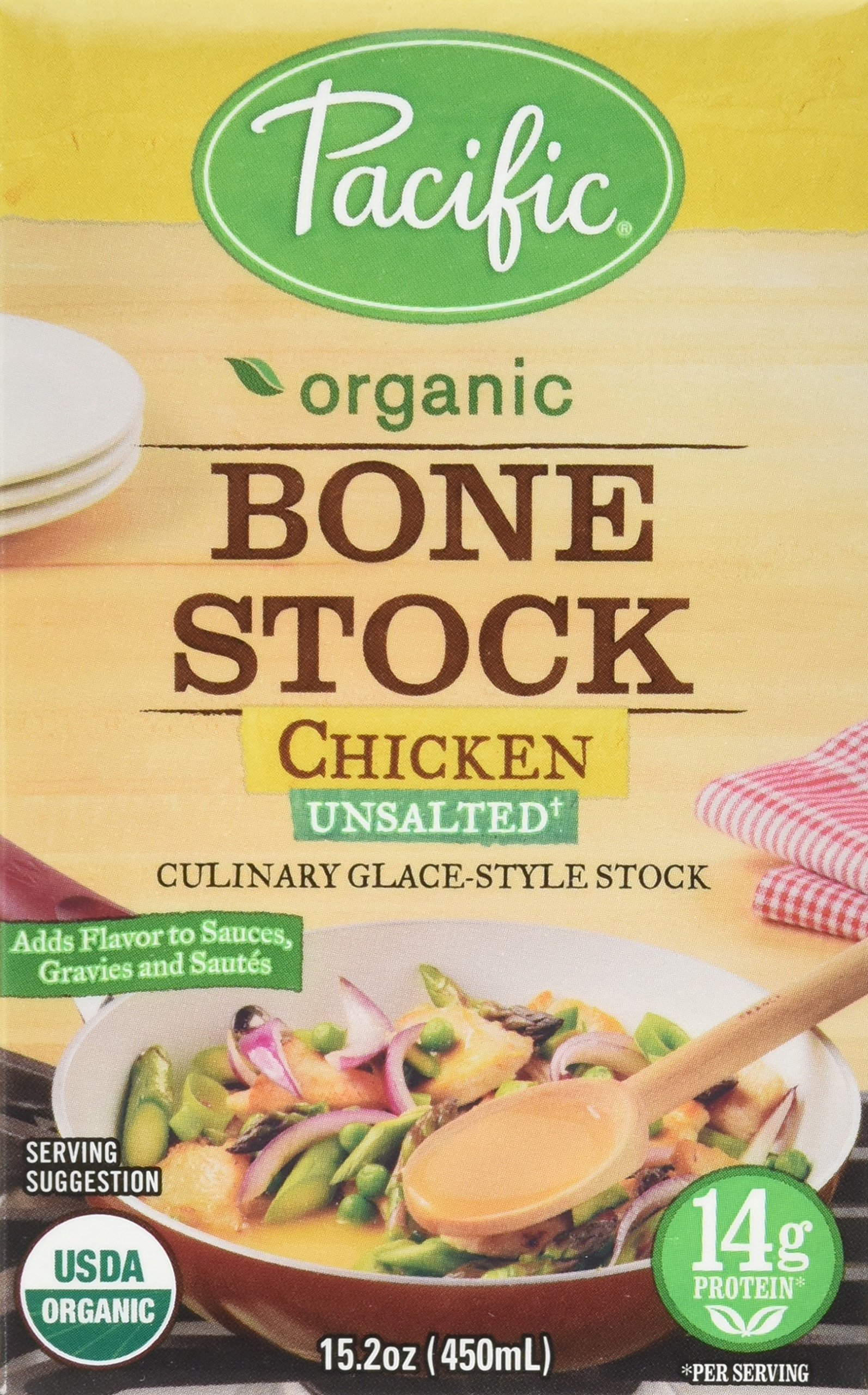 Pacific Foods Organic Unsalted Chicken Bone Stock, 15.2 Fluid Ounce -- 12 per case. by Pacific Foods