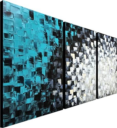 Large Hand Painted Teal Abstract Canvas Wall Art Turquoise Modern Oil Painting Handmade Huge Artwork 72 W x 36 H