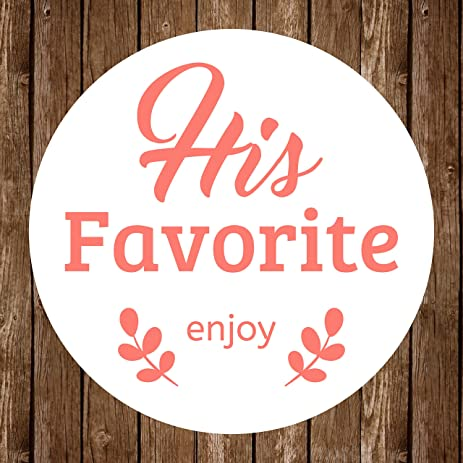 His Favorite & Her Favorite Wedding Favor Stickers (His, Coral)