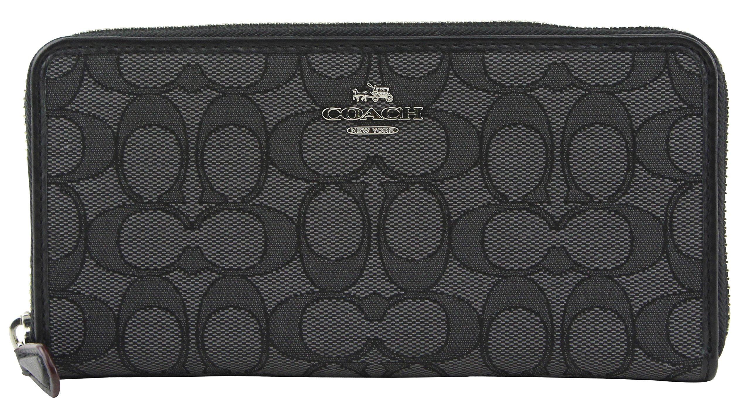Coach Accordion Zip Wallet in Outline Signature (Black Smoke/Black) - F54633 SVDK6 by Coach