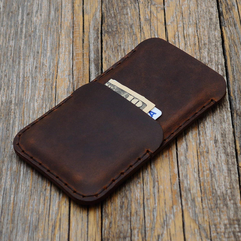 Marró n Estuche Billetera Funda De Cuero para iPhone 8, 7, 6/6s con bolsillos para tarjetas de cré dito. Estuche de manga. Cosido a mano. 6/6s con bolsillos para tarjetas de crédito. Estuche de manga. Cosido a mano.